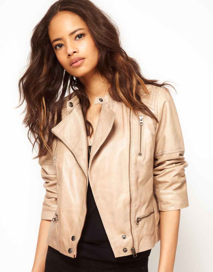 Asos collection Asos Premium Quilted Biker Jacket in Natural | Lyst