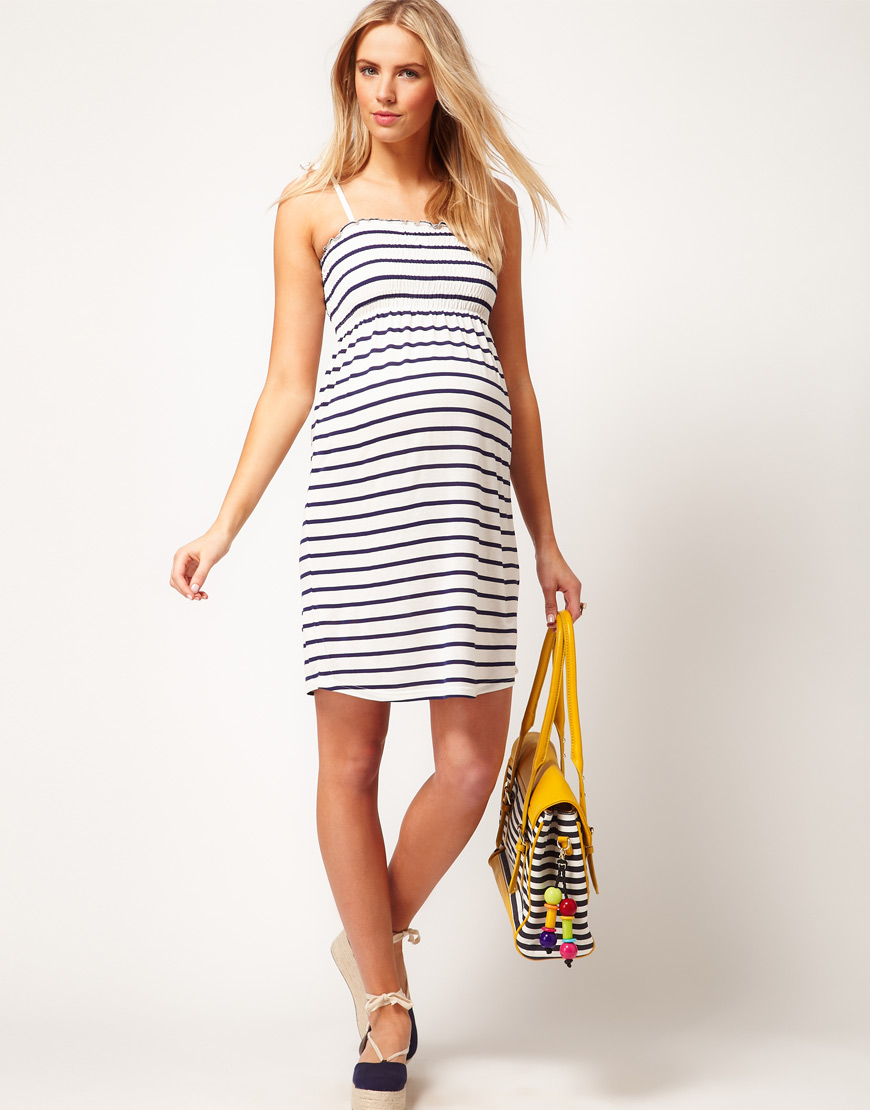 Asos Maternity Sundress in Stripe with Tie Shoulders in Blue | Lyst