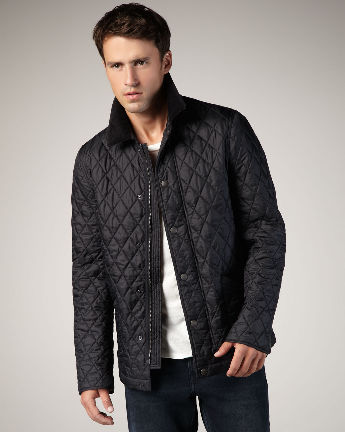 Burberry brit Classic Quilted Jacket in Black for Men