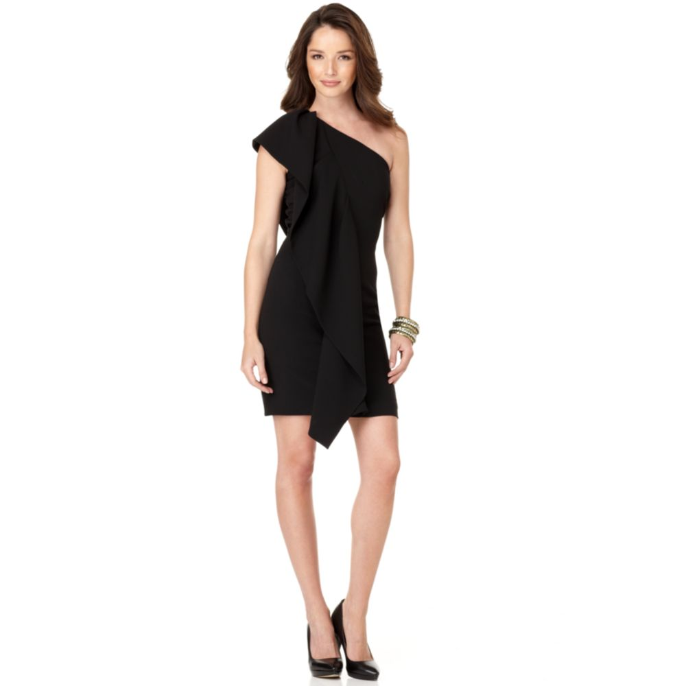 Calvin klein sleeveless one shoulder ruffled cocktail for Macy black dress wear to wedding