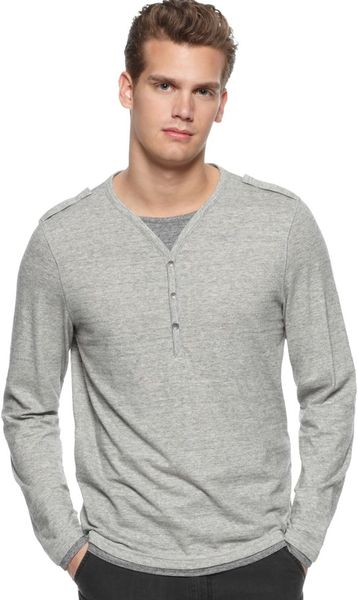 Calvin Klein Three Button Henley In Gray For Men Foundry