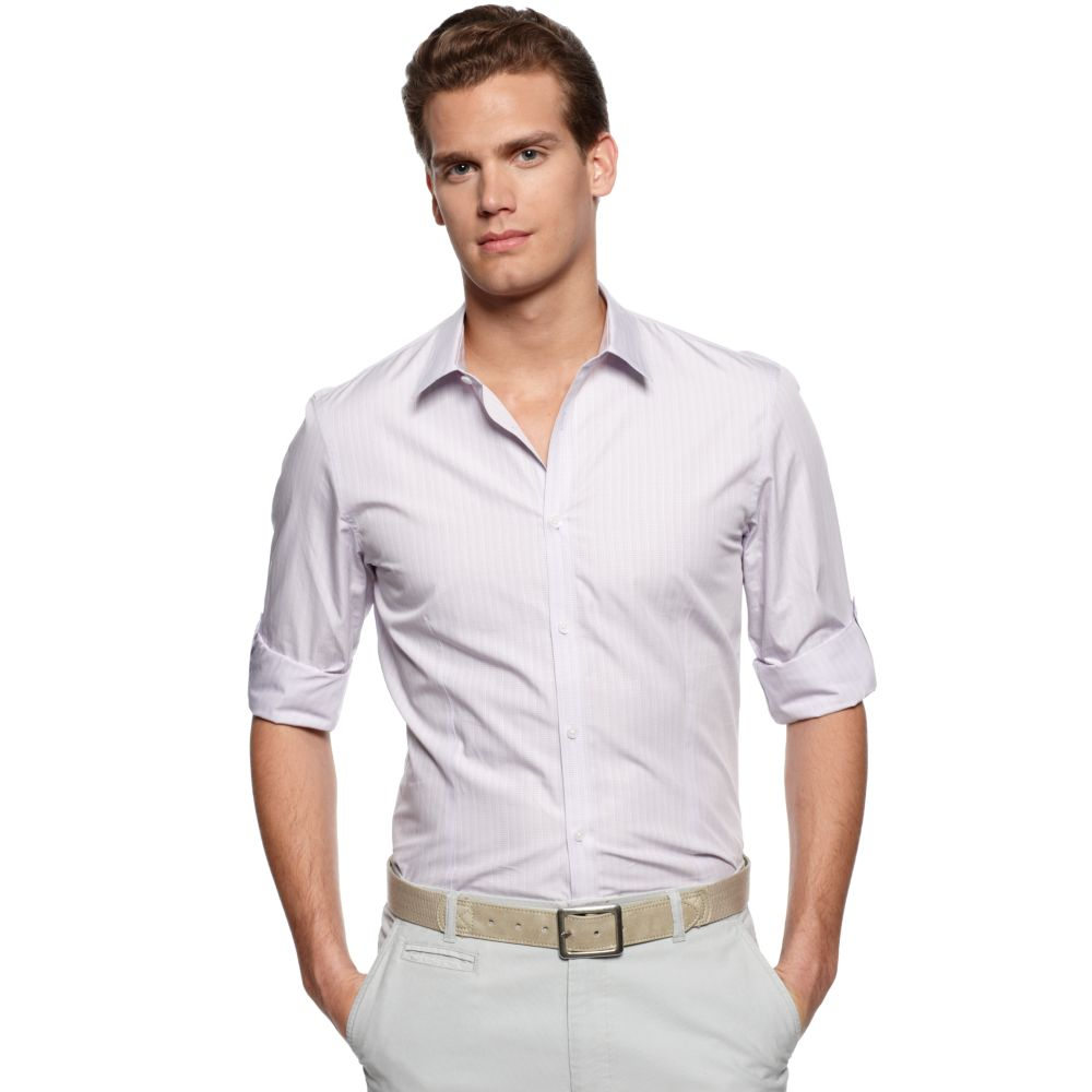 lyst calvin klein long sleeve roll up sleeve shirt in