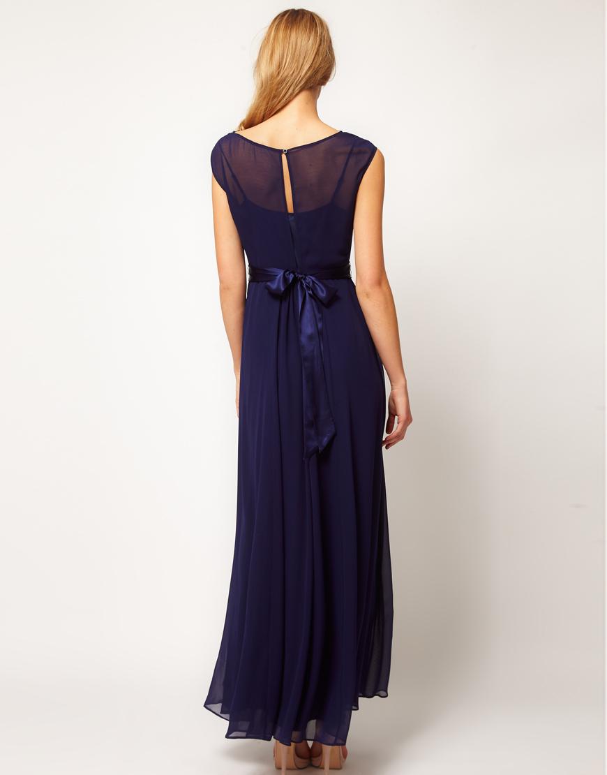 coast coast lori maxi dress with embellished belt in blue