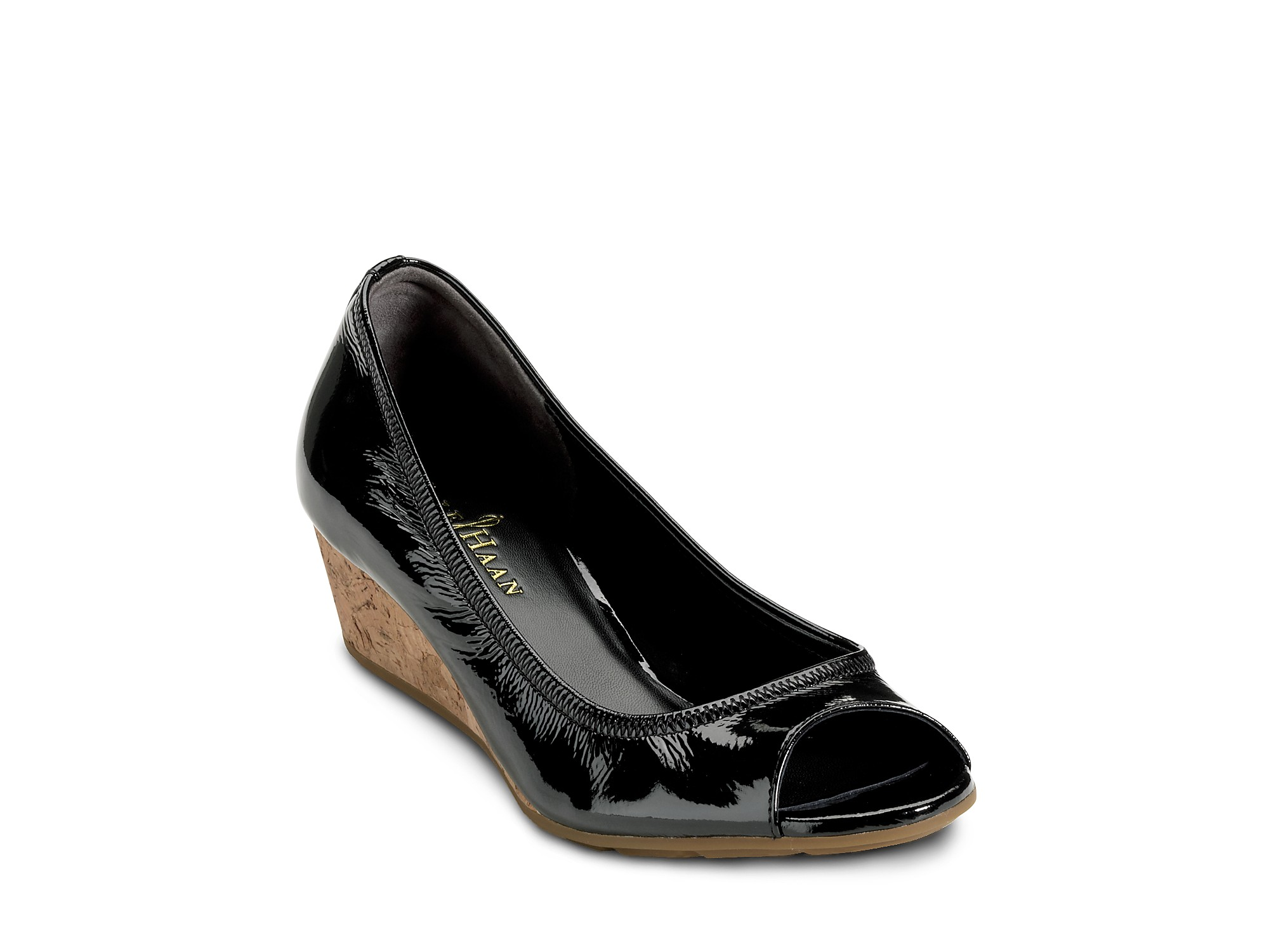 868b8a8b1bb7 Lyst - Cole Haan Wedges Air Nadine Open Toe in Black