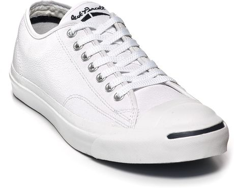 Converse Jack Purcell Leather Sneakers in White for Men (black) - Lyst