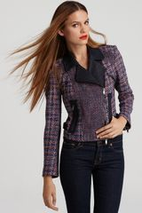 Dkny Bracelet Sleeve Mixed Media Motorcycle Jacket in Blue (indigo blue red) - Lyst