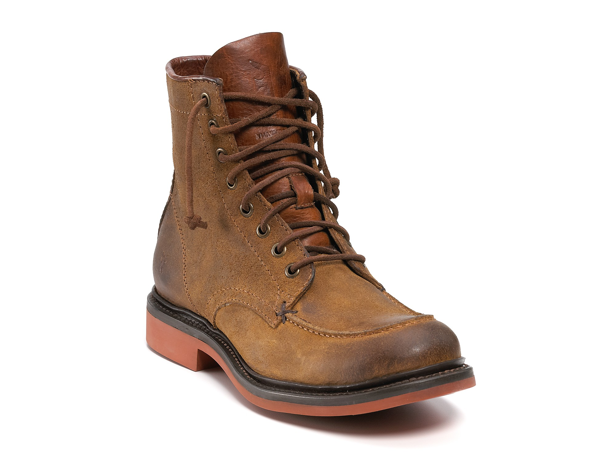 frye wallace lace up boots in brown for lyst