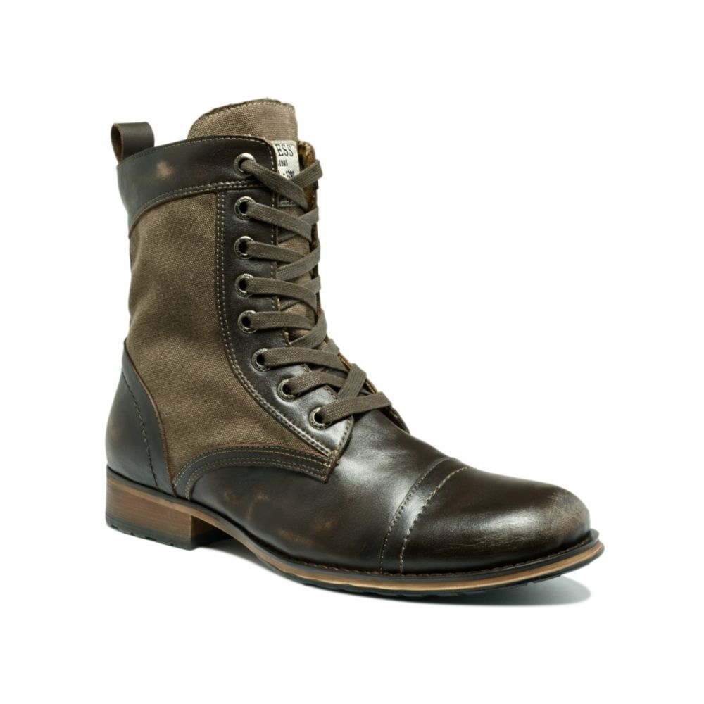 Guess Shoes Alfred Leather And Canvas Boots