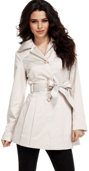 Guess Long Sleeve Belted Pleated Trench - Lyst