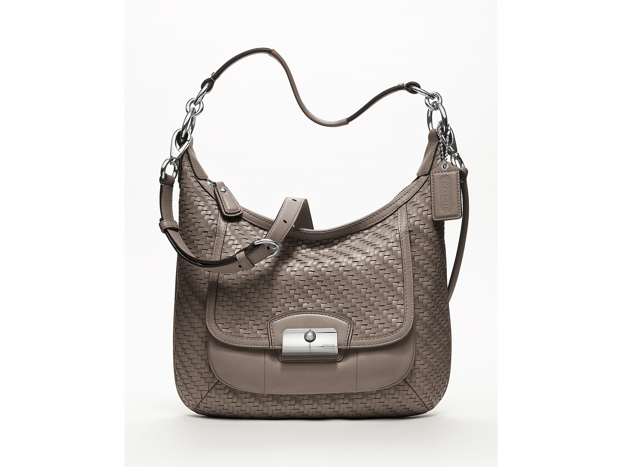14fd25ba203c Hobo Coach Kristin Woven Leather in Brown (silver black .
