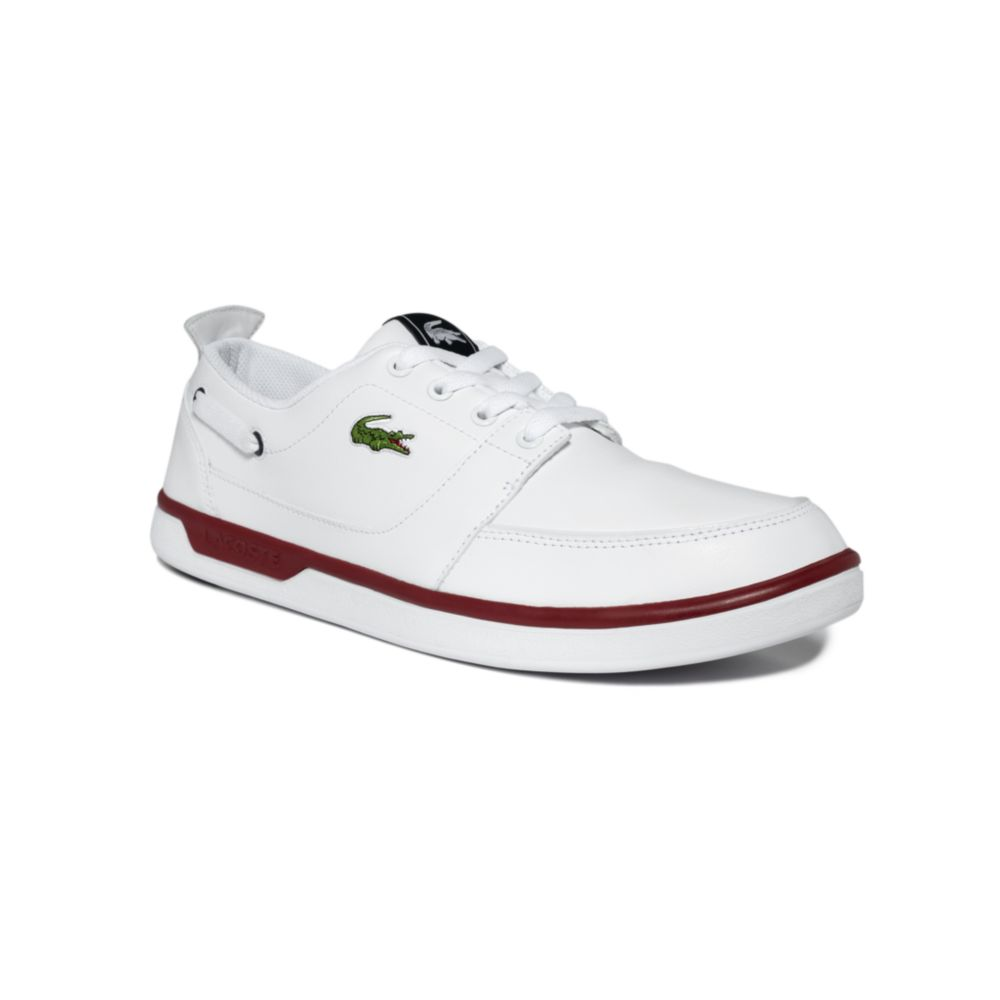 lacoste topa boat shoes in white for white lyst