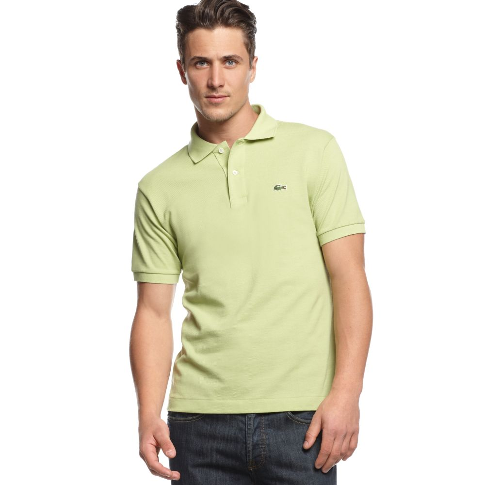Lacoste classic pique polo shirt in green for men willow for Lacoste poloshirt weiay