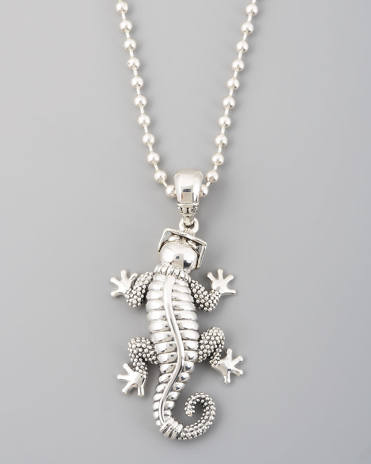 Lyst lagos rare wonders gecko pendant necklace in metallic gallery mozeypictures Images