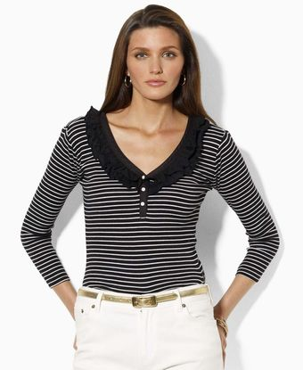 Lauren by Ralph Lauren Rosie Three Quarter Sleeve Ruffle Striped Scoopneck - Lyst