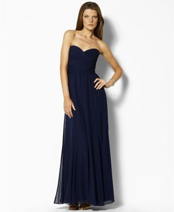 Ralph Lauren Strapless Evening Gown - Lyst