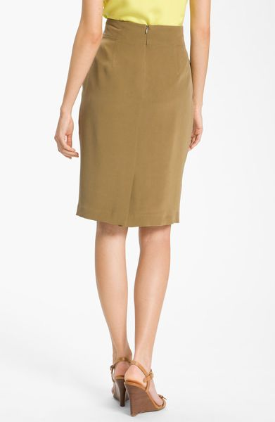 louben silk pencil skirt in khaki lyst