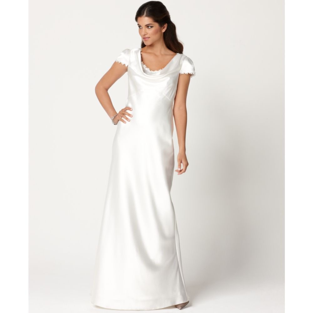 Cowl Neck Wedding Gown: Eliza J Cap Sleeve Lace Trim Satin Cowl Neck Gown