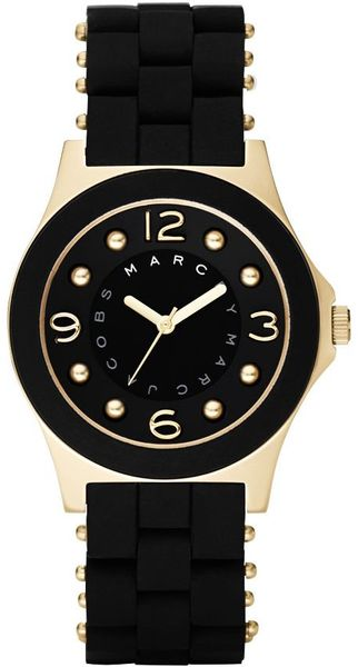 Marc By Marc Jacobs Womens Pelly Black Silicone Wrapped Stainless Steel Bracelet - Lyst