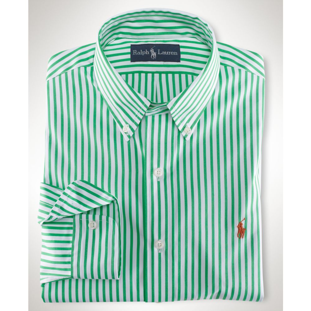 Lyst - Ralph lauren Stripe Poplin Shirt in Green for Men