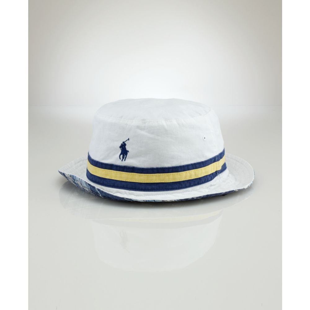 4cd4d986a48 Lyst - Ralph Lauren Beachside Reversible Bucket Hat in White for Men