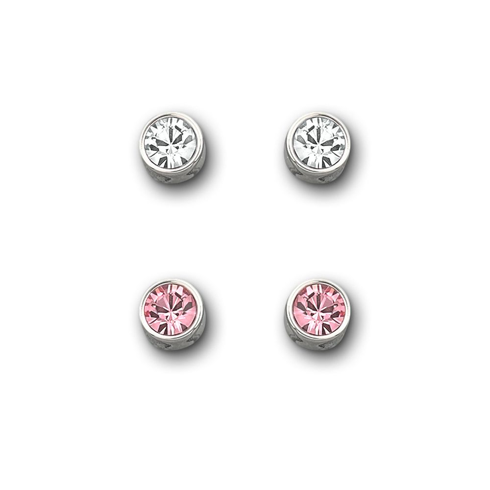 Lyst - Swarovski Pink and Clear Crystal Stud Earring Set in Pink 6addec5fa