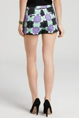 Tibi Shorts Printed Basket Weave in Blue (lavender mint multi) - Lyst