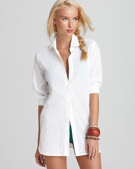 Tommy Bahama Crinkle Cotton Boyfriend Shirt in White - Lyst