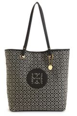Tommy Hilfiger Signature Jacquard Easy Tote in Black (black/cream) - Lyst