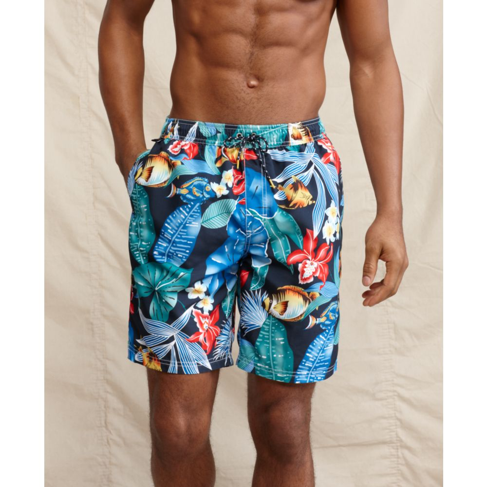 tommy hilfiger fish print swim shorts in blue for men lyst