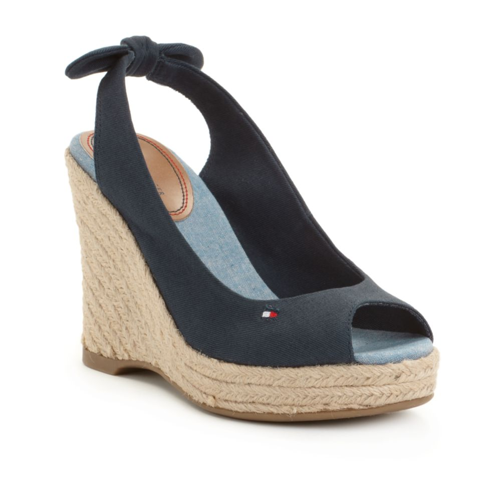 tommy hilfiger hillary espadrille wedge sandals in blue lyst. Black Bedroom Furniture Sets. Home Design Ideas
