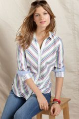 Tommy Hilfiger Long Sleeve Striped Cotton Button Down - Lyst