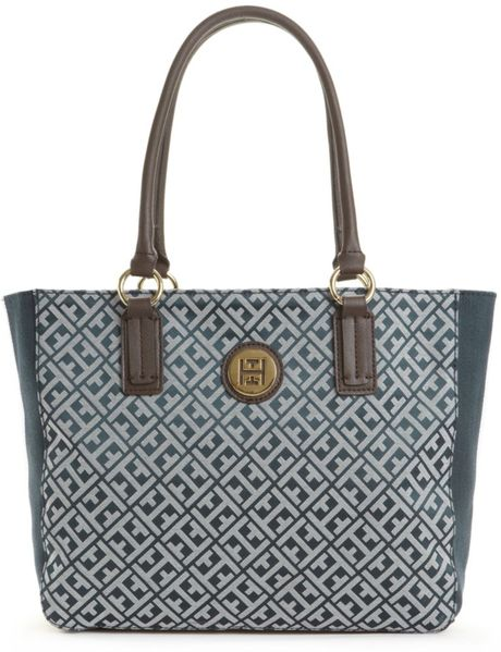 Tommy Hilfiger Signature Jacquard Logo Tote in Blue (navy/white) - Lyst