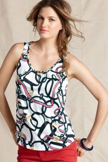 Tommy Hilfiger Sleeveless Printed Scoop Neck Tank - Lyst
