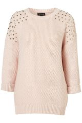 Topshop Knitted Stud Cotton Jumper - Lyst