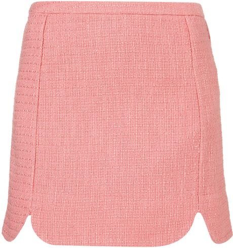 Topshop Coord Scallop Edge Skirt in Pink
