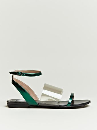 Dries Van Noten  Metallic Strap Sandals - Lyst