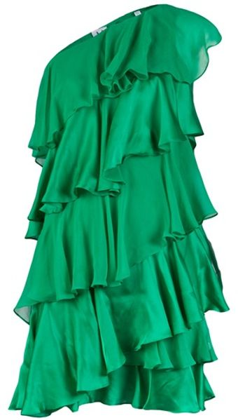 Halston Heritage Oneshoulder Tiered Dress - Lyst