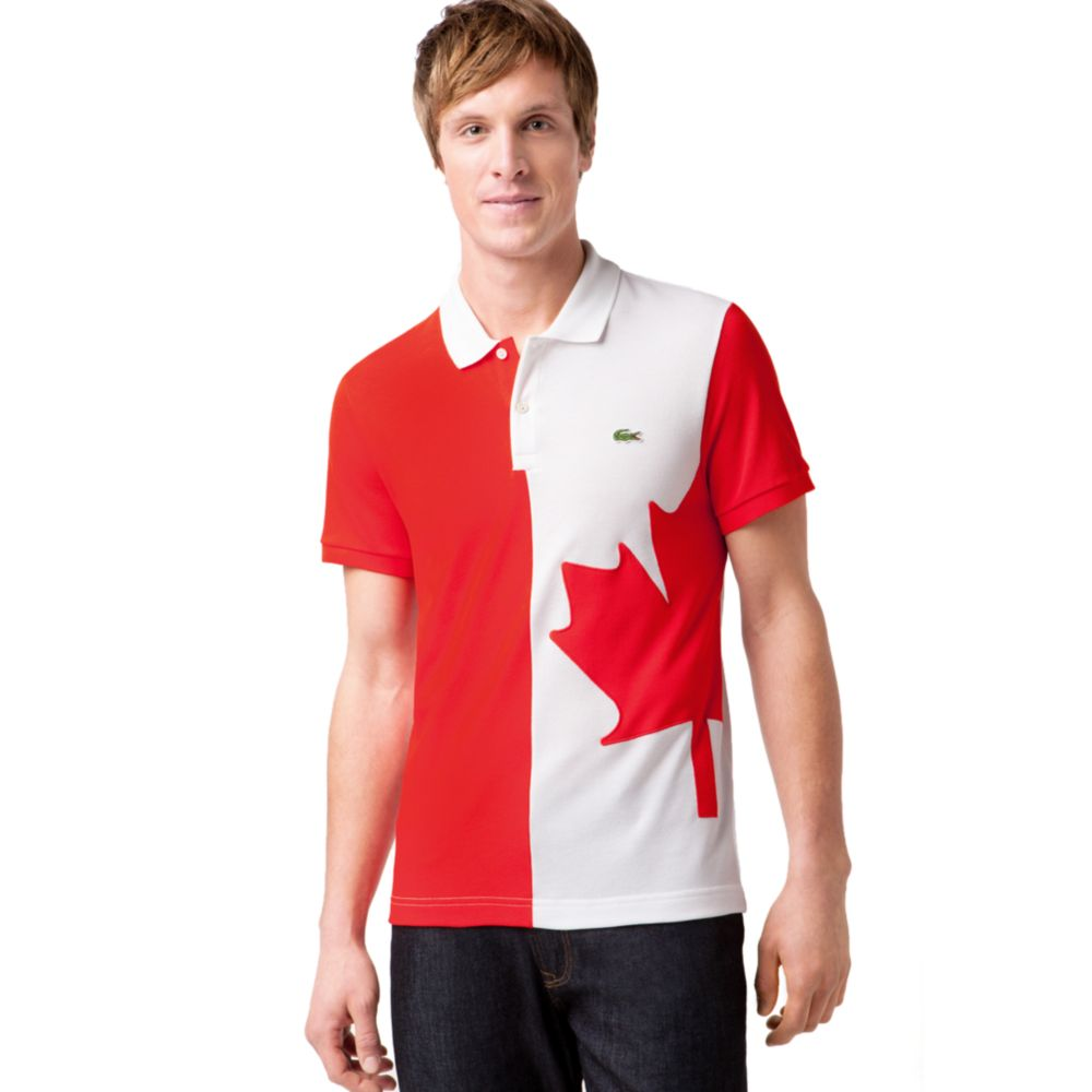 Lacoste Canada Flag Pique Polo Shirt in Red for Men | Lyst