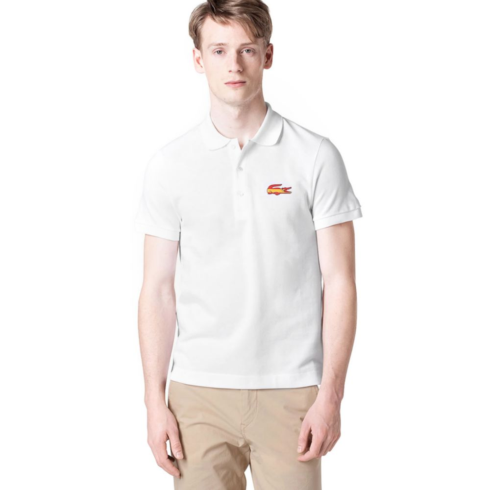 Spain Flag White For Polo Men Lacoste And In Lyst Croc Pique Shirt mv0N8nw