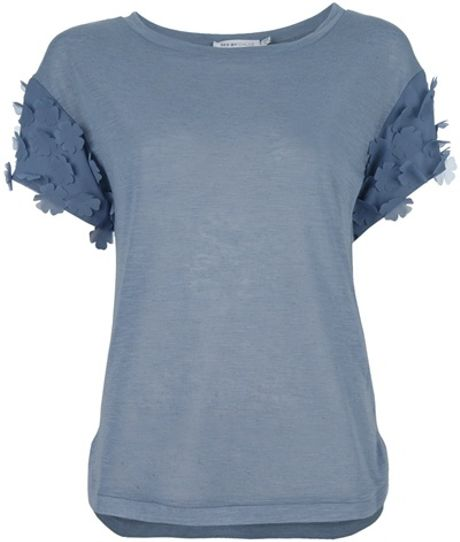 See By Chloé Short Sleeve Top in Blue (grey) - Lyst