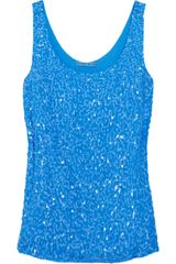 Alice + Olivia Sequined Silkchiffon Top - Lyst