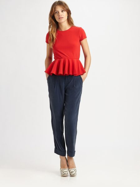 Alice + Olivia Nero Peplum Top in Red - Lyst
