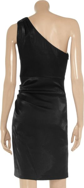 Badgley Mischka Embellished Satin Dress In Black Lyst