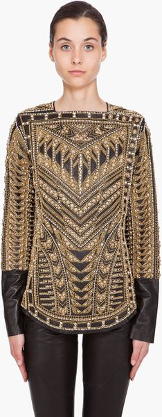 Balmain Handmade Embroidered Runway Blouse in Beige (black) - Lyst
