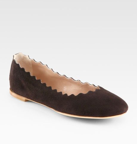 Chloé Scalloped Suede Ballet Flats in Brown - Lyst