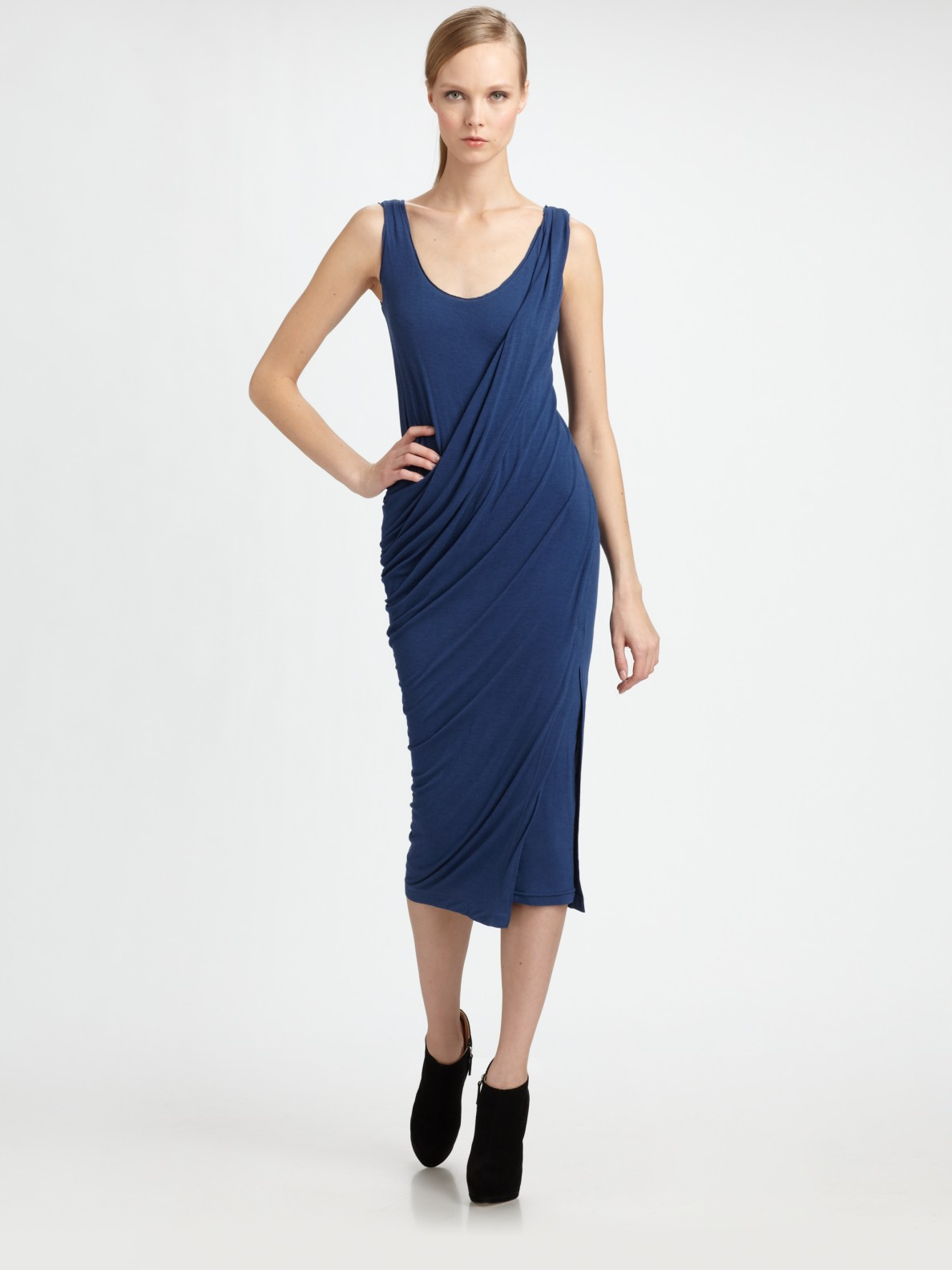 Donna karan new york draped jersey dress in blue black for Donna karen new york