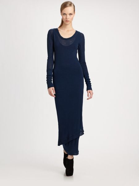 Donna Karan New York Melange Wool Jersey Dress in Blue (indigo) - Lyst