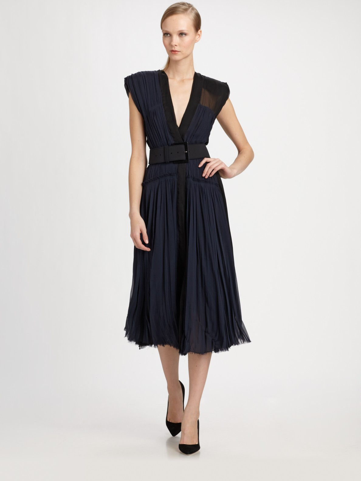 Donna karan new york belted silk dress in blue ink lyst for Donna karen new york