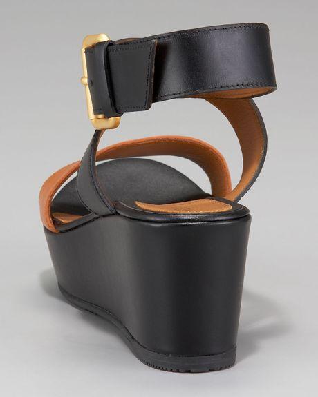 Fendi Ankle Wrap Platform Wedge Sandal In Multicolor