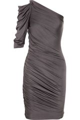 Halston Heritage Asymmetric Ruched Silk and Cottonblend Dress - Lyst